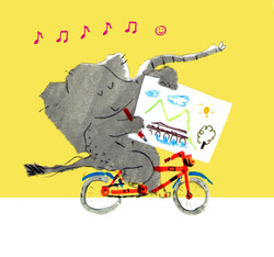 Elephant biking and drawing