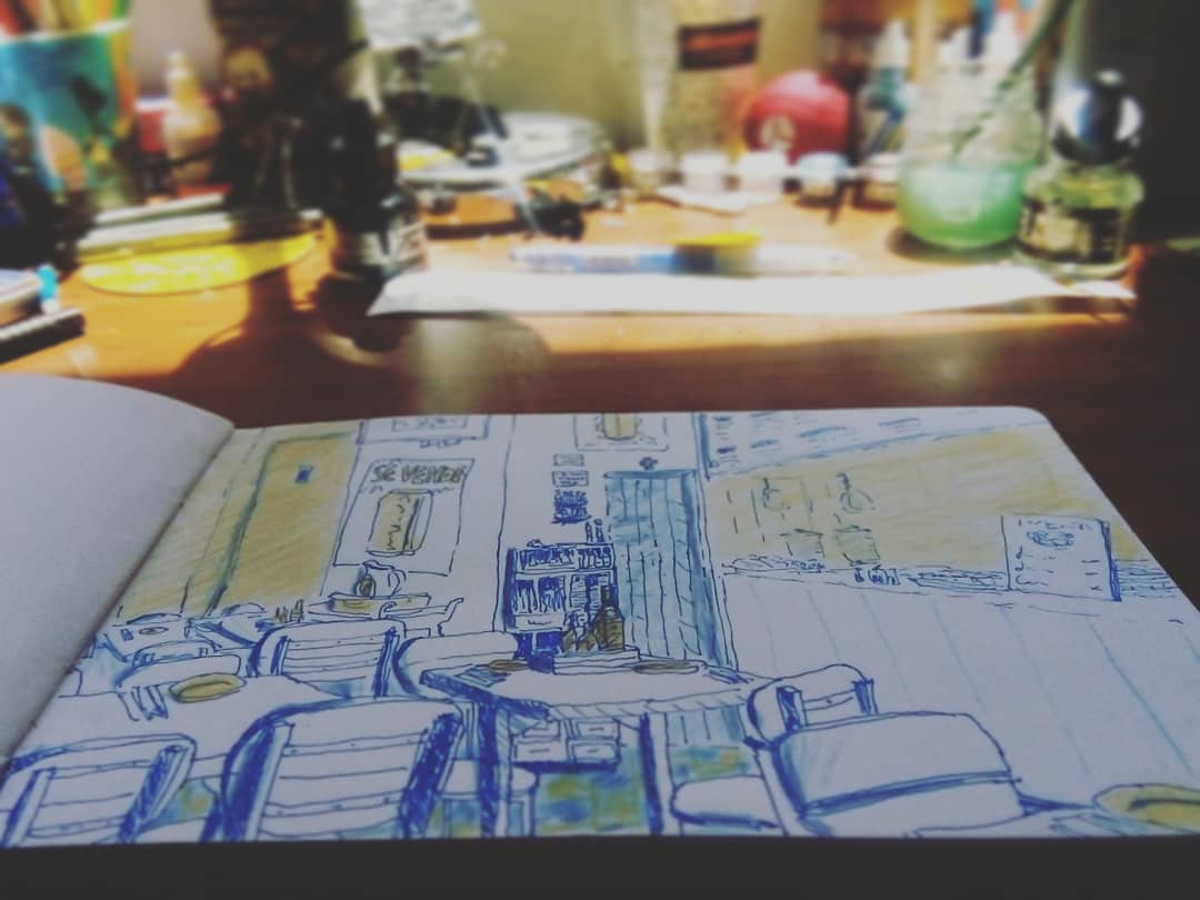 Sketchbook and desk