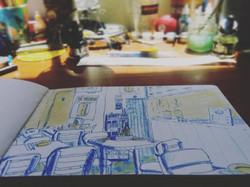 Sketchbook and desk
