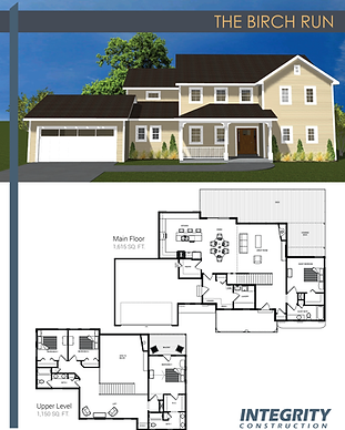 Rendering and floor plan of The Birch Run two-story home