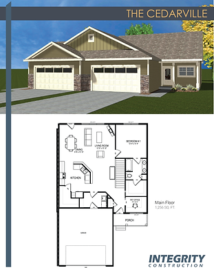 Rendering and floor plan of The Cedarville townhome
