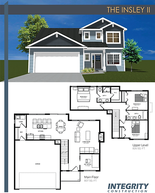 Rendering and floor plan of The Insley II two-story home