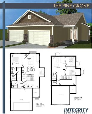 Rendering and floor plan of The Pine Grove townhome