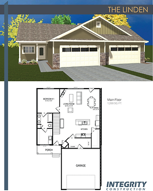 Rendering and floor plan of The Linden townhome