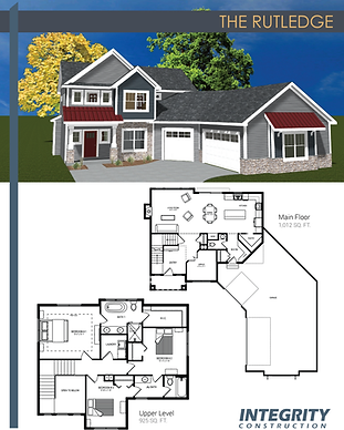 Rendering and floor plan of The Rutledge two-story home
