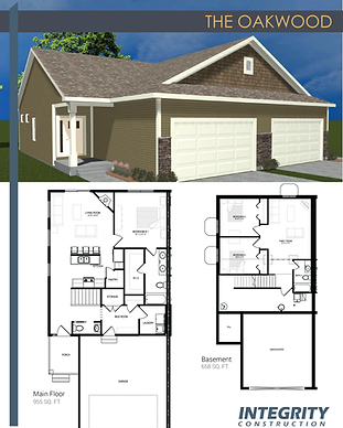 Rendering and floor plan of The Oakwood townhome