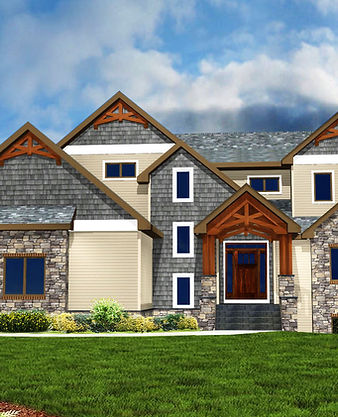 Rendering of a craftsmen two-story home