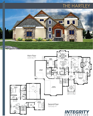 Rendering and floor plan of The Hartley two-story home