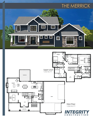 Rendering and floor plan of The Merrick two-story home