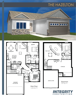 Rendering and floor plan of The Hazelton townhome
