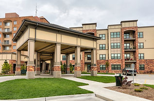 Porte cochere entry of Green Hills Retirement Community in Ames, Iowa. 32 Apartment addition