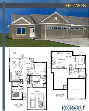 Rendering and floor plan of The Aspen townhome