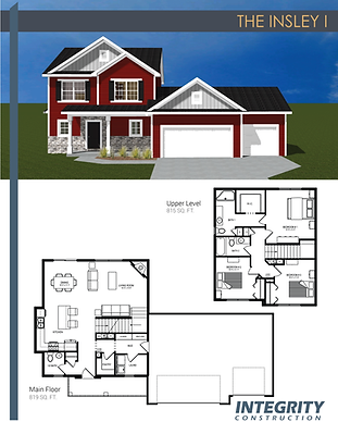 Rendering and floor plan of The Insley I two-story home