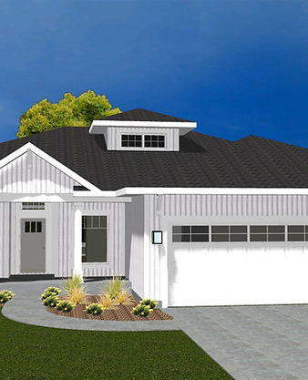 Rendering of white ranch-style home
