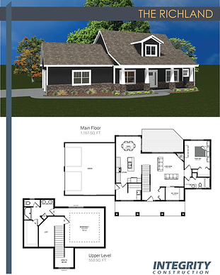 Rendering and floor plan of The Richland two-story home