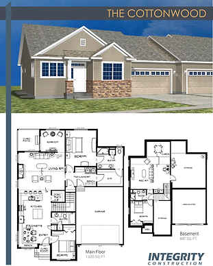 Rendering and floor plan of The Cottonwood townhome