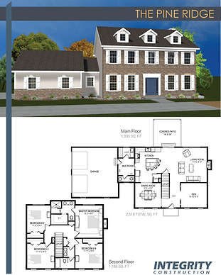 Rendering and floor plan of The Pine Ridge two-story home