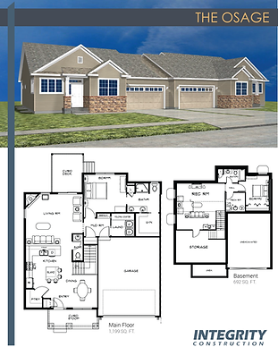 Rendering and floor plan of The Osage townhome