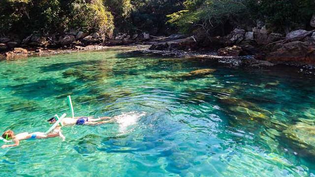 Recreação com snorkel