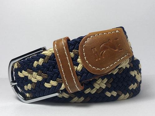 Navy, Creme & Brown Fleck Belt