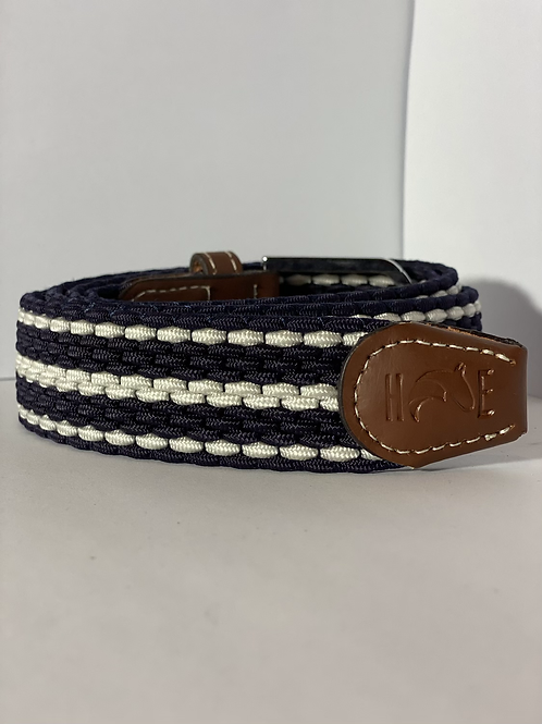 Navy & White Elastic Belt