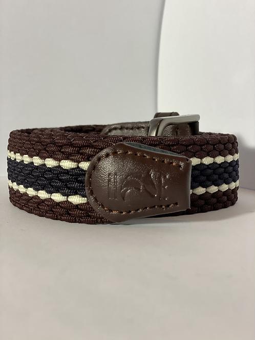 Brown, navy & white Elastic Belt