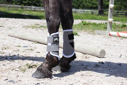 Grey Brushing boots