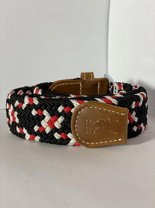 Black, Red & White Elastic Belt