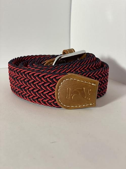 Navy & Red Fleck Elastic Belt