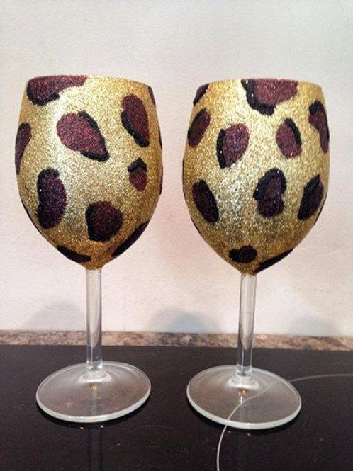Leopard/Zebra Print Wine Glass