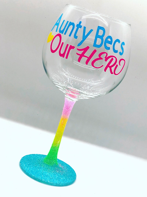 Personalised Rainbow Gin Glass - Any Text