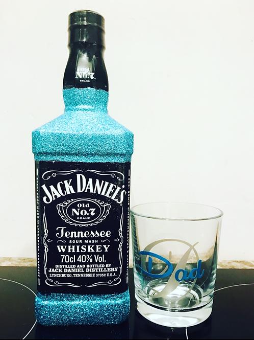 Jack Daniels Glitter Bottle & Glass