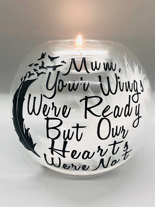 Personalised Your Wings Were Ready Glass Candle Holder