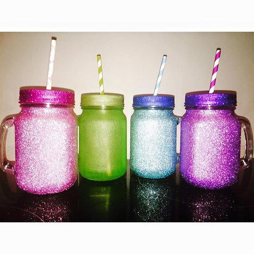 Fully Glittered Mason Jar
