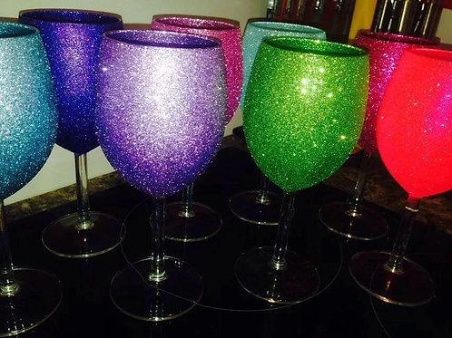 Individual Glitter Wine Glass