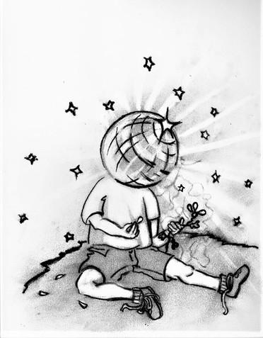 Mirrorball Boy- Sketch, Charcoal