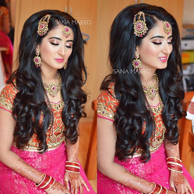 Lovely Zhara on her mhendi night. Love doing mhendi hair and makeup. Always so fun with bright colou