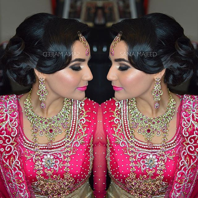 Low updo on beautiful Nadia 😍 #mhendi #pakistanibridalmakeup #indianbride #londonmua #muaharrow #mu