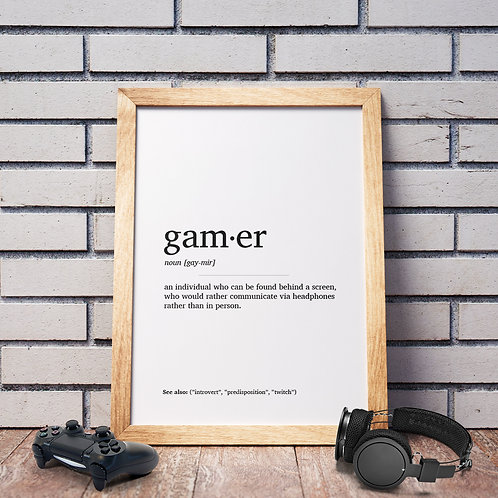 Gamer Definition Poster
