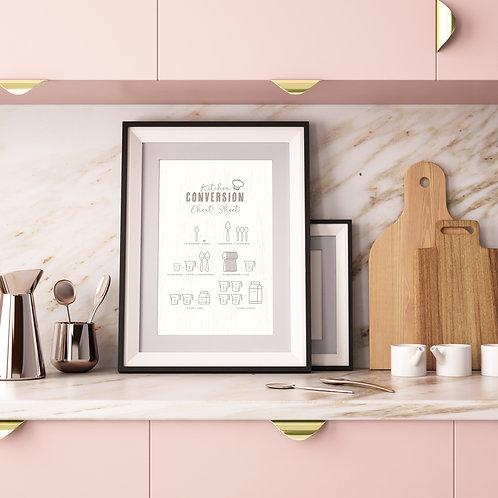 Kitchen Measurement Conversion Cheat Sheet Poster