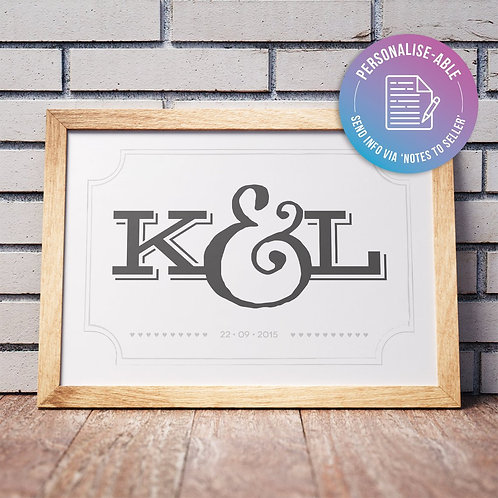 Couple Initials and Date [PERSONALISED]