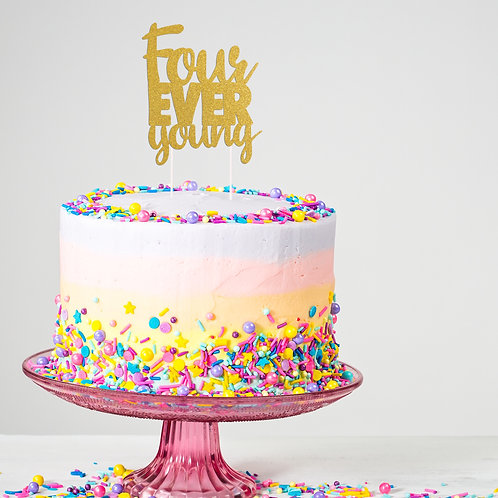 Four-ever Young Cake Topper