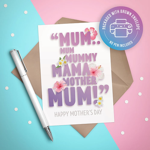 Mother's Attention Card