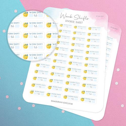 Work Shift Sticker Sheet