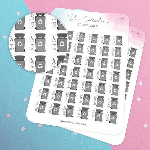 Bin Collection Sticker Sheet