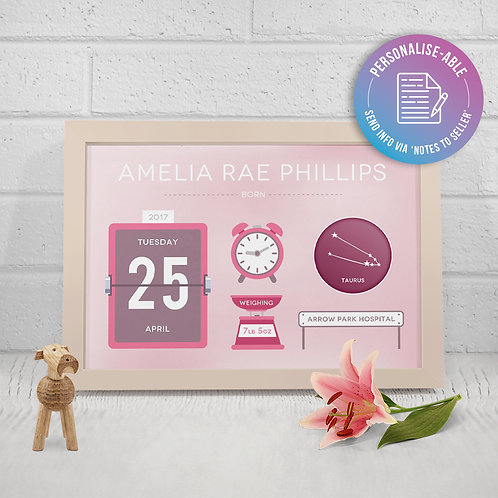 Cute Baby Girl Birth Announcement [PERSONALISED]
