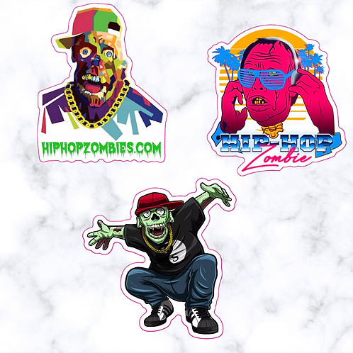 """Hip Hop Zombie 3 """" Stickers ( 3 Pack )"""