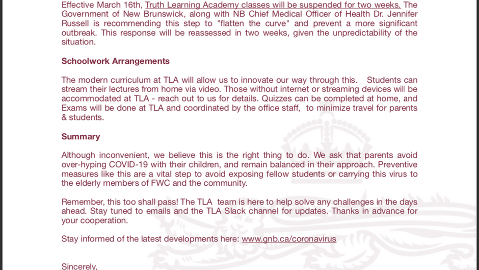TLA Response to COVID-19