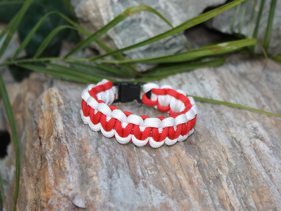 Red White Survival Band - Buckle