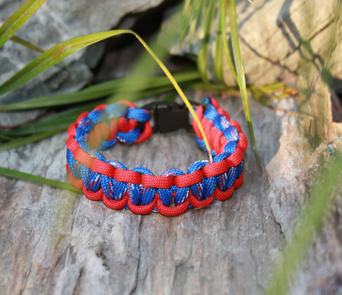Blue w/red white trim & Red Survival Band - Buckle